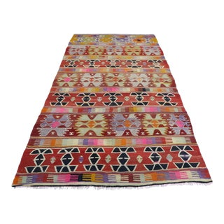 Anatolian Kilim Turkish Rug-4′11″ × 8′11″ For Sale