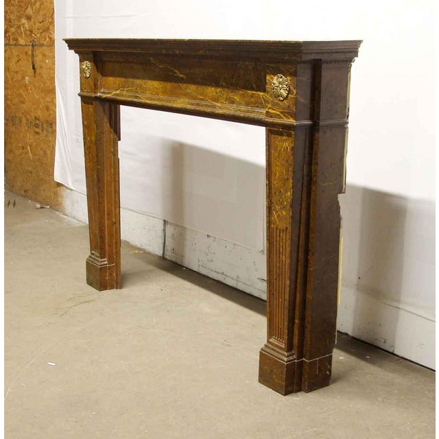Traditional Antique Wooden Regency Mantel With Faux Marble Look For Sale - Image 3 of 10