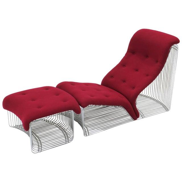 Pantonova chaise or chair and ottoman. Designed by Verner Panton and made by Fritz Hansen, Denmark, circa 1970. Original...