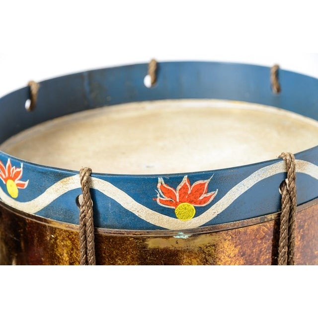 Vintage Military Eagle Tole Drum Side Table For Sale - Image 9 of 11