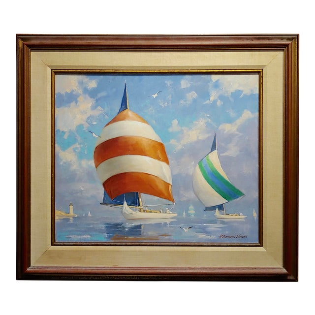Redmond Stephens Wright - Colorful Sailing Boats -Oil Painting For Sale