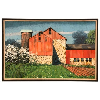 Post Impressionist Painting of Barn by Listed Bucks County Artist John Foster For Sale