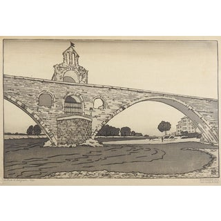 Le Pont d'Avignon by Philip Needell Woodcut Print For Sale
