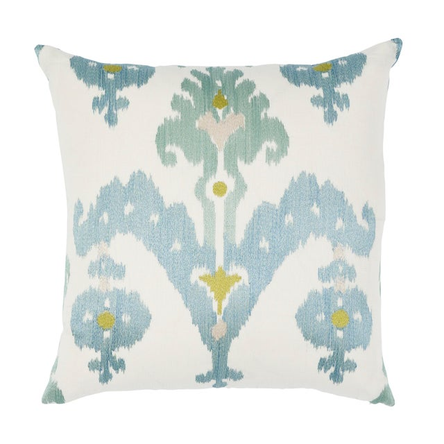 Schumacher Raja Embroidery Pillow in Sky For Sale In Charlotte - Image 6 of 6