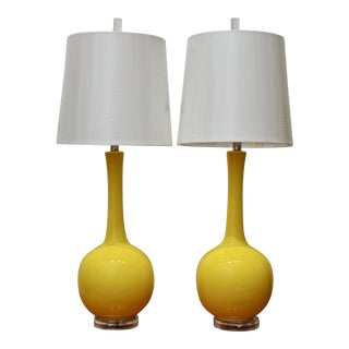 Sunshine Yellow Oversized Lamps With Acrylic Bases & Finials, a Pair For Sale