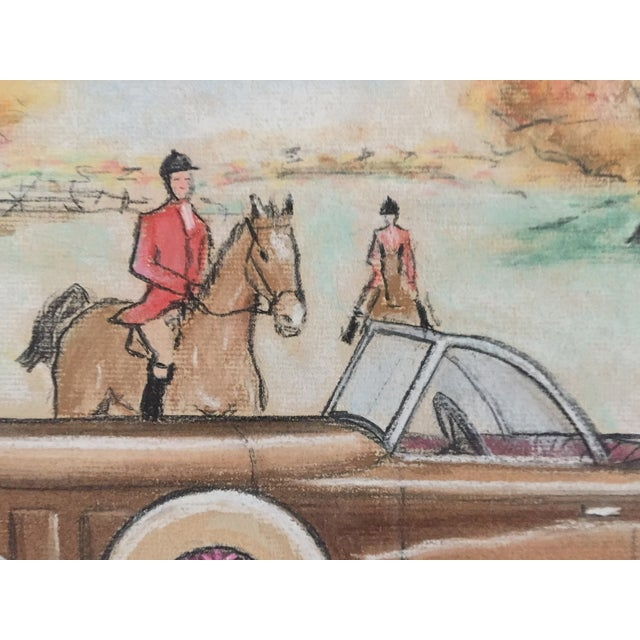Original Vintage 1950's Pastel Lincoln Car Drawing - Image 4 of 6