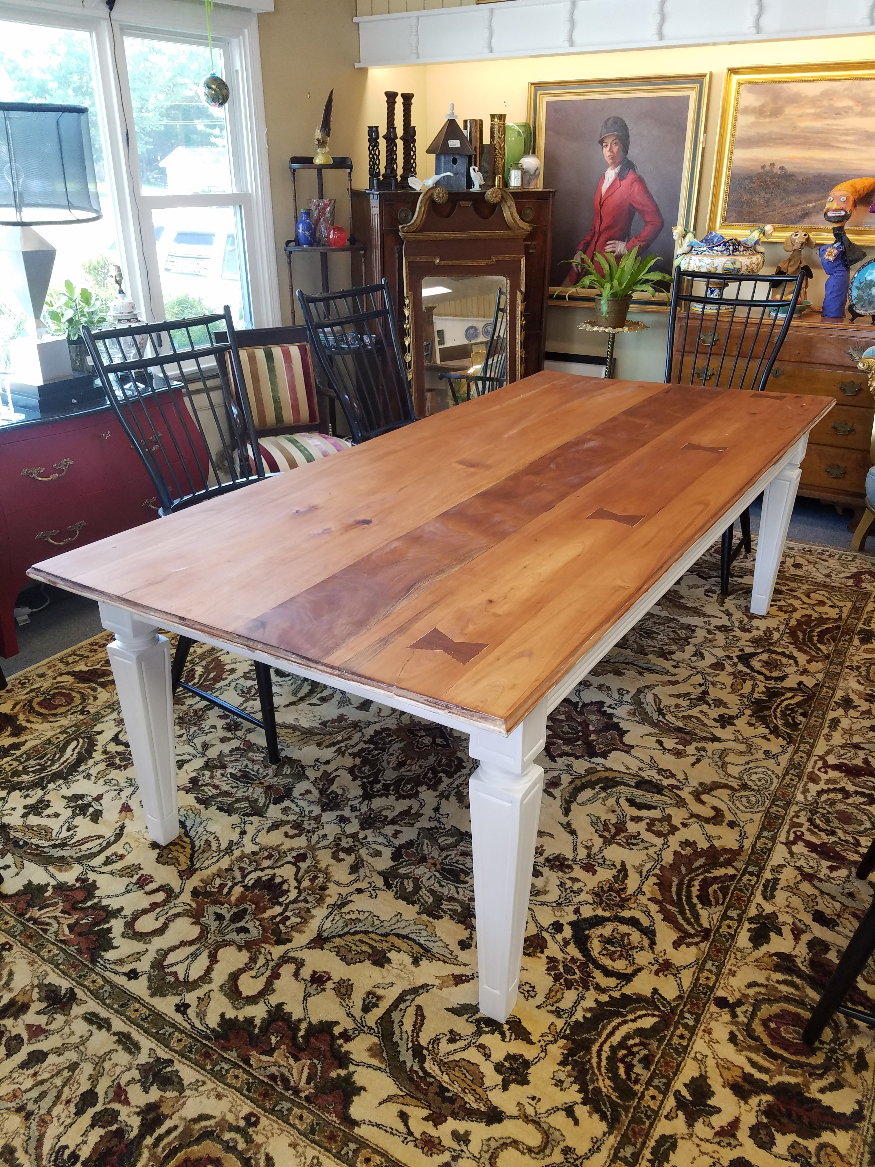 Mahogany Classic Farm Table With White Painted Taper Leg Base. The Top With  A Beeswax
