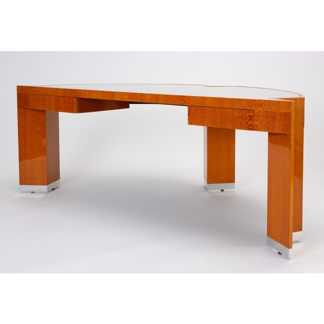 """1990s Custom Lacewood """"Mezzaluna"""" Desk by Pace Collection For Sale - Image 5 of 13"""