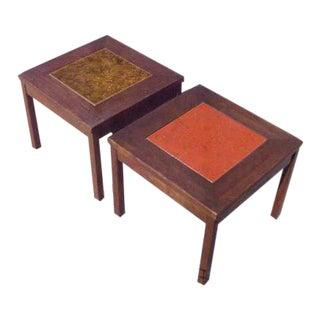1950s Mid Century Modern John Keal Brown Saltman Gold & Orange Walnut Copper Enamel Side Tables - a Pair For Sale