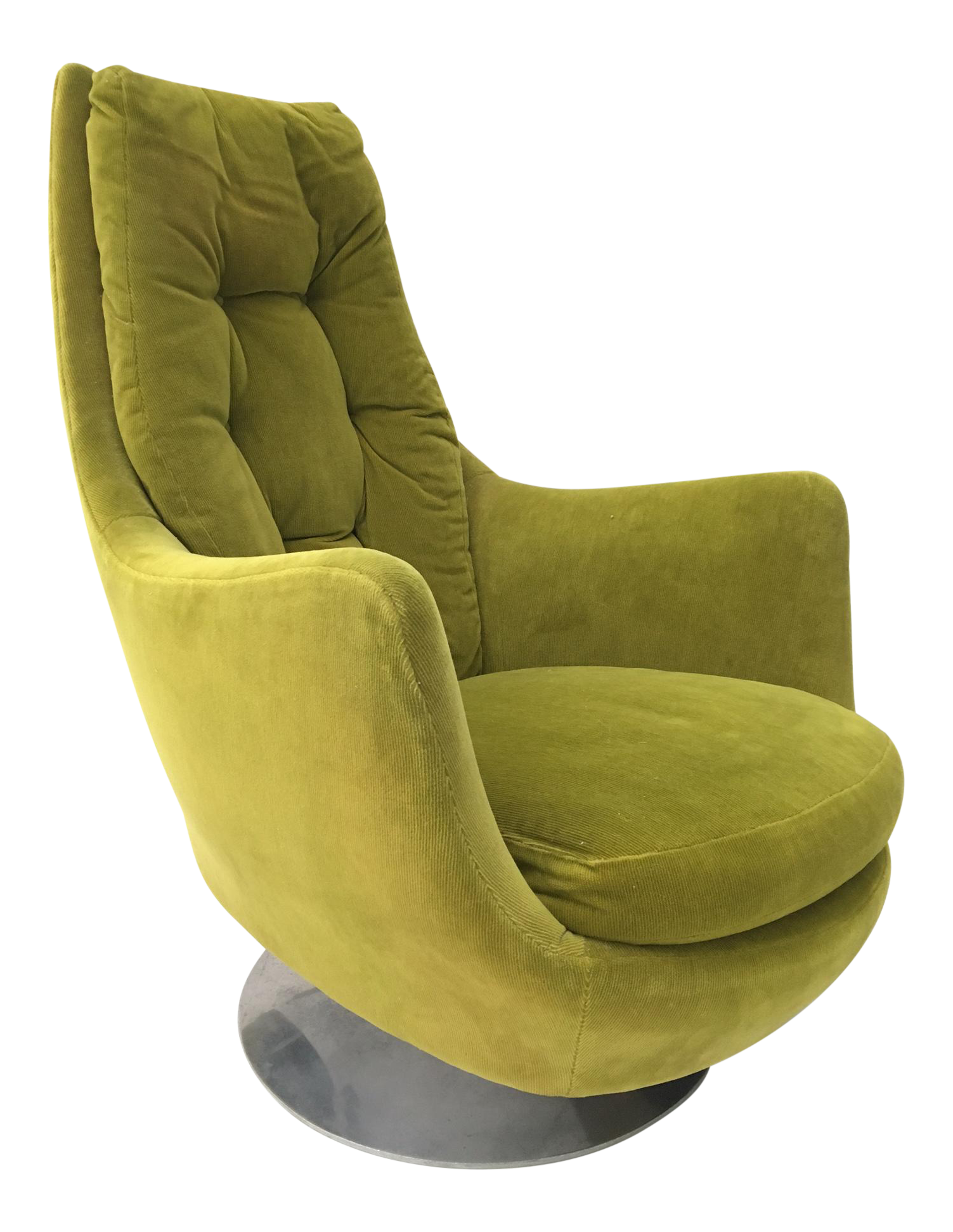 Milo Baughman Thayer Coggin Plush Mod Swivel Lounge Chair For Sale