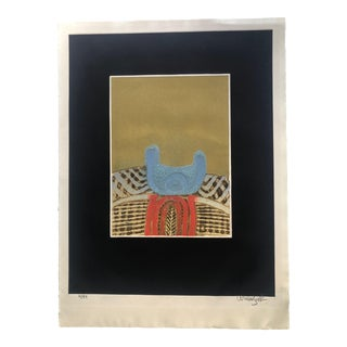 Abstract Monoprint With Asian Motifs For Sale