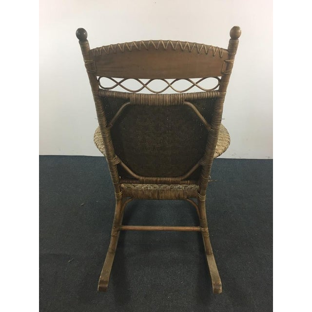 Antique Wicker & Carved Wood Rocking Chair - Image 4 of 4