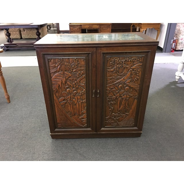 Asian Teak Marble Top Fold Out Bar For Sale - Image 11 of 11