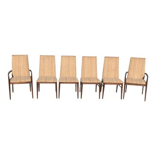 Walnut Dillingham Mid-Century Modern Dining Chairs - Set of 6