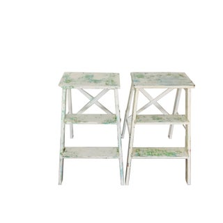Shabby Chic Step Ladders - A Pair For Sale