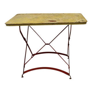 Folding Painted Metal Bistro Table With Red Legs