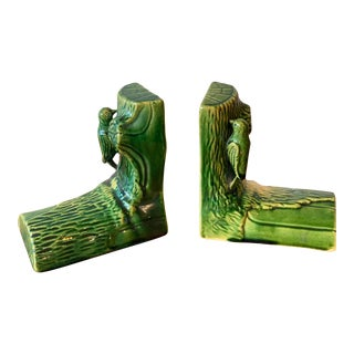English Pottery Bookends, Log Form With Birds - a Pair For Sale