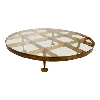 Mexican Modernist Bronze Round Coffee Table by Arturo Pani After Gio Ponti For Sale
