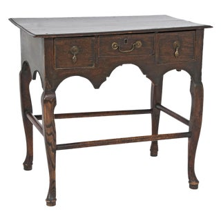 1920s Edwardian English Oak Dressing Table Lowboy For Sale