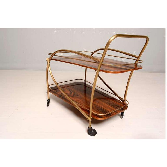 Brazilian Rosewood Double Deck Service Cart For Sale - Image 9 of 10