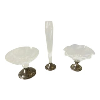 Vintage Duchin Creation Weighted Silver and Etched Crystal Candy Dishes and Bud Vase - Set of 3 For Sale