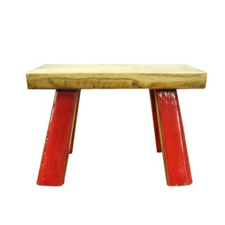 Raw Wood Top Finish Rede Legs Rectangular Short Stool Table For Sale