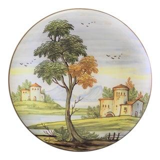 Vintage Saca Castelli Italian Hand-Painted Ceramic Wall Plate For Sale