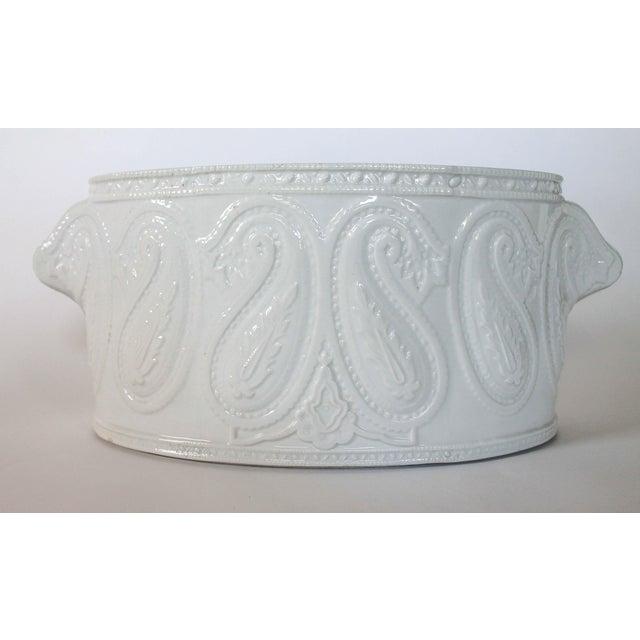 White Italian Ceramic Planter For Sale - Image 8 of 8