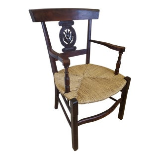 Late 19th Century Rush Seat Continental Carved Oak Armchair For Sale