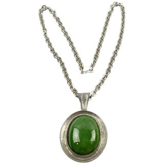 Space Age Modernist Pendant Necklace Huge Pewter Pendant With Green Ceramic For Sale