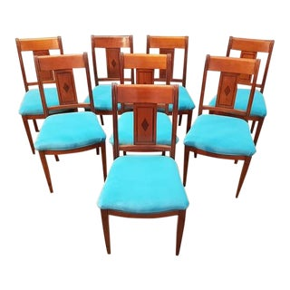 Set of Eight Antique French Cherry Reupholstered in Turquoise Baby Blue Dining Chairs For Sale
