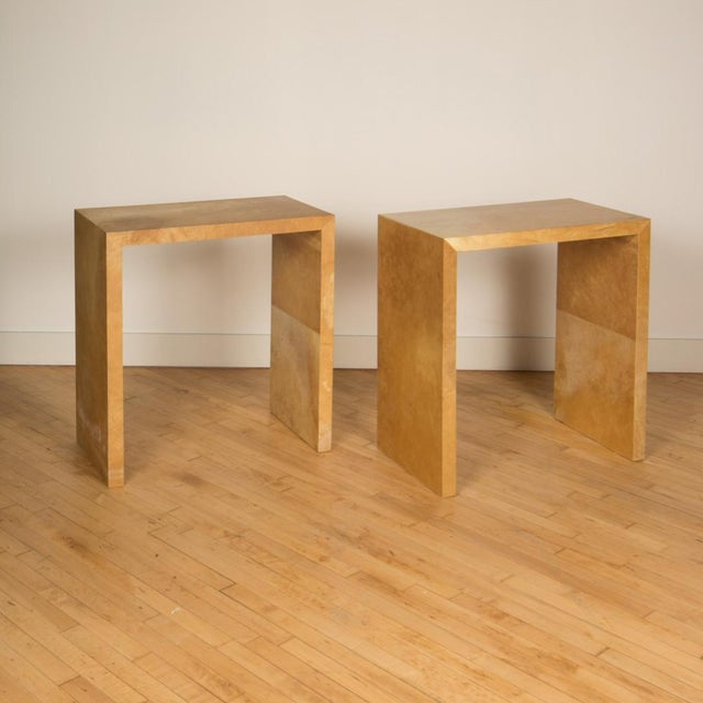 Jean-Michel Frank Jean-Michel Frank Style Mid-Century Modern Parchment Console Tables - a Pair For Sale - Image 4 of 7