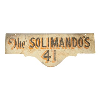 Vintage Deco Double Sided House Sign Solimando's For Sale