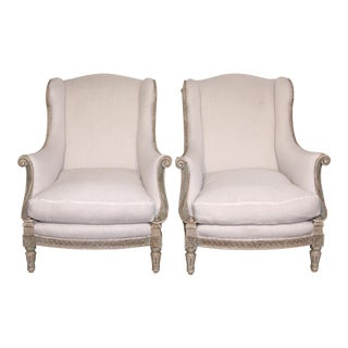 1900 Antique French Wing Back Chairs - a Pair