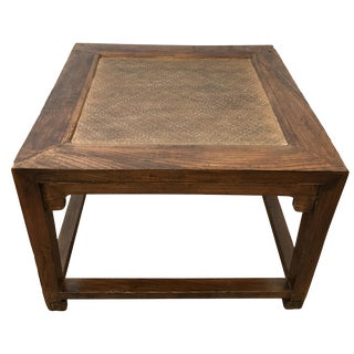 1900s Chinese Elm Wood Low Table Rice Mat Top For Sale
