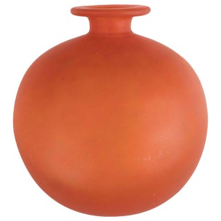 French Art Deco Vase in Opaque Persimmon Hue Signed by Charles Schneider For Sale