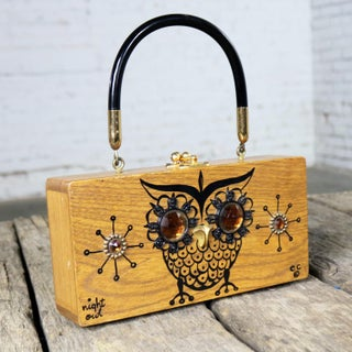 Enid Collins Original Night Owl Wood Box Bag by Collins of Texas Vintage Preview