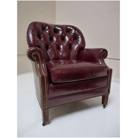 Hancock & Moore Chesterfield Chair & Ottoman - Image 4 of 8