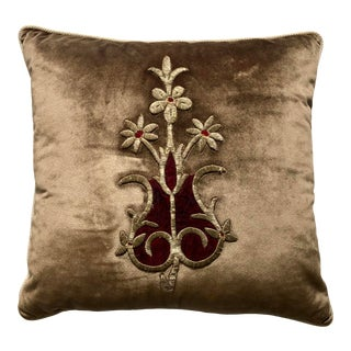 19th Century Metallic Silver Wire Floral Embroidery Brown Velvet Pillow For Sale