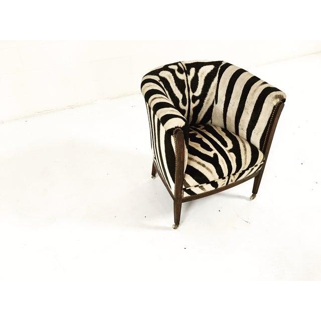 Vintage 1930s Barrel Chair in Zebra Hide - Image 3 of 11