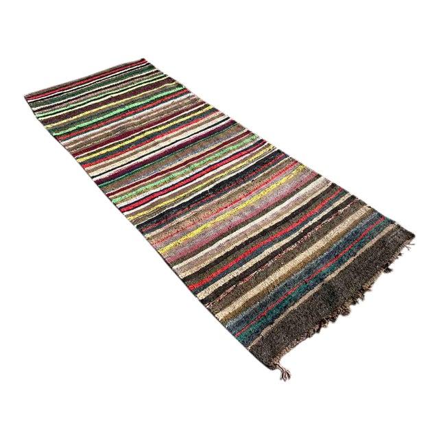 Vintage Striped Turkish Kilim Rug For Sale