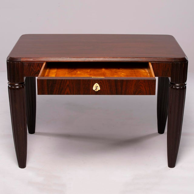 1930s French Rosewood Writing Table With Fluted Legs For Sale - Image 11 of 12