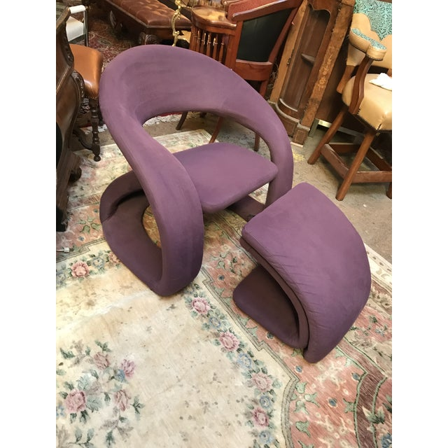 Mid Century Modern Jaymar Memphis Sculptural Cantilever Lounge and Ottoman in Purple Fabric For Sale - Image 13 of 13