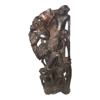 Late 20th Century Figurative Wooden Hand Carved African Sculpture For Sale