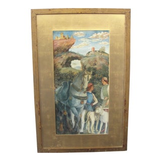 Antique Gouache on Paper Painting of Medieval Scene by Joseph Lindon Smith For Sale
