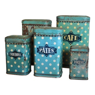Vintage French Polka Dot Enamel Kitchen Spice Canisters - Set of 5 For Sale