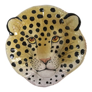 Mid-Century Italian Pottery Leopard Face Dish For Sale