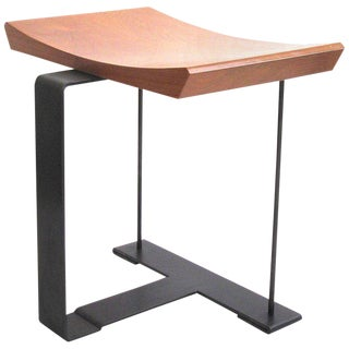 'Sn3' Wood and Metal Stool in the Manner of Pierre Chareau For Sale