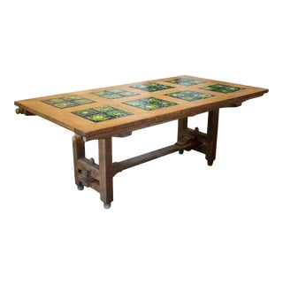 Guillerme Et Chambron Oak and Tile Dining Table With Extensions, France, 1960 For Sale