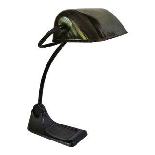 1930s Art Deco Industrial Dark Green Enamel Desk Light For Sale